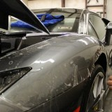 Clear bra installation on Lamborghini fender
