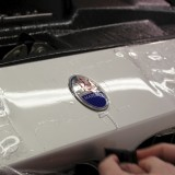 Clear bra installation on Maserati bumper